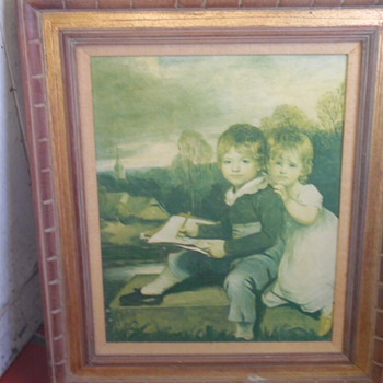 Old Master Type Painting Children Outside - Visual Art