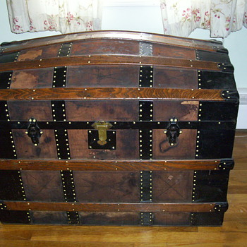 Large Leather Covered Trunk  - Need Restoration Advice