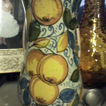 Italian Castelli Pottery Vase W/Oranges & Olives - Art Pottery