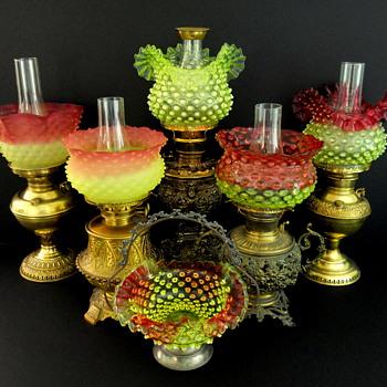 Hobbs Brockunier Dewdrop #323 lamp shades - Glassware