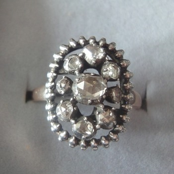 Victorian ring, rose cut diamonds set in silver