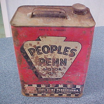 2 Gallon Peoples Penn Motor Oil Can.