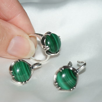 Silver Ring and Earrings with Malachite - Fine Jewelry