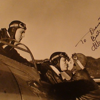 "Mrna Loy Signed Photo From ""Test Pilot"" With Clark Gable and Spencer Tracy - Photographs"