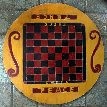 #47 ~ OOAK Vintage 1960s Hippie Carved Peace Chessboard + #48