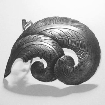 Vintage French 1930's Curled Feather Brooch and Scarf Clip - Unsigned.