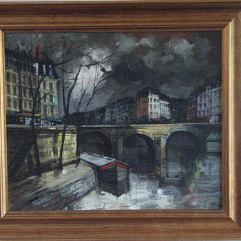 Oil painting of Pont Marie in Paris