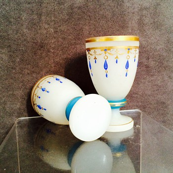 Antique French? Bohemian? Enamelled Opaline Pair Goblets Cups, circa 1860's