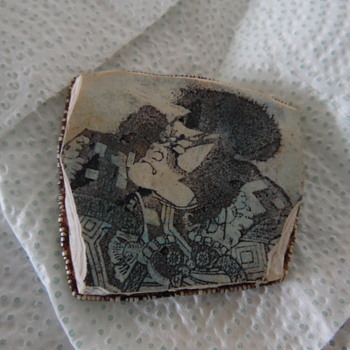 Old Japanese/Chinese Painted on Stone - Asian