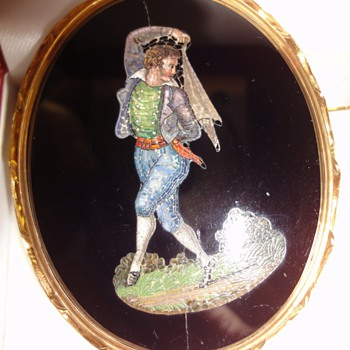 "Micro Mosaic brooch mounted in 18 K;  ""My private dancer"""