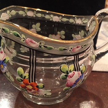 Hand painted glass creamer  - Glassware