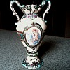 Hand Painted Small Porcelain Handled Urn / Cherub and Rose Panels / Unknown Maker and Age