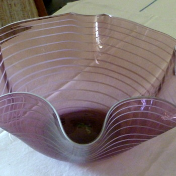 Hand blown art glass bowl - fluted top and with stripes