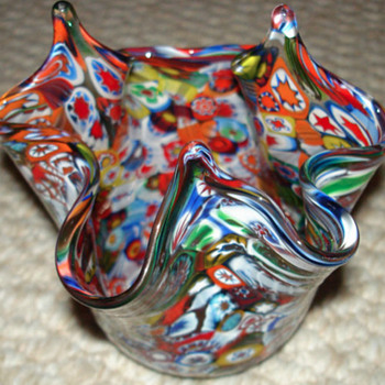 Millefiori Handkerchief Vase  - Art Glass