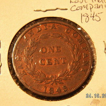 1845 England ~East India Company 1 Cent - World Coins