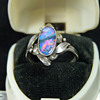 Rhoda Wager Silver and Lightning Ridge Opal Ring