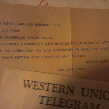 This is a Western Union Telegram sent to my grandfather and artist Boyer from Gypsy Rose Lee regarding pinups