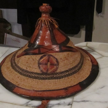 Leather Fiber African Herdsman Hat..from the Fulani People of Mali