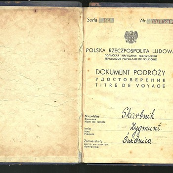 1957 Polish travel document/passport issued to a Jew - Paper
