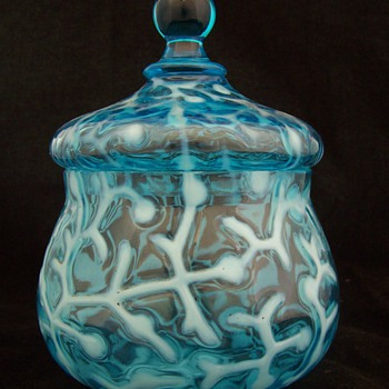 Scarce Hobbs and Brockunier &amp; Co. Seaweed Blue Opal Covered Sugar - Art Glass