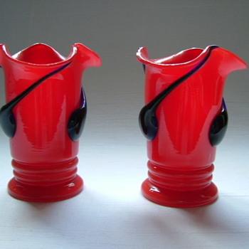 Art Deco Tango Glass Vases - Art Glass