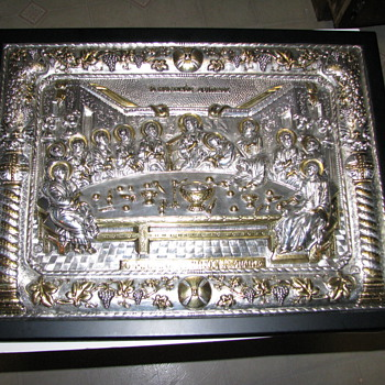 """The Last Supper"" reproduction.  Hand Made in .950 silver with Gold Gilding"