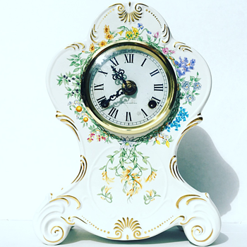 Vintage German Chime Mantal Clock w/ Floral Design