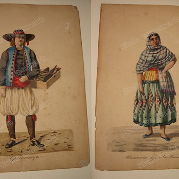 Old Bialystok ORIGINAL WATERCOLOR DRAWINGS pair Costume Folk Peasants  - Folk Art