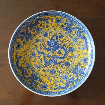 yellow and blue charger - China and Dinnerware