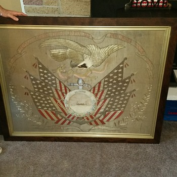Huge Antique Dated 1907 American Eagle Patriotic Silk U.S.S. Colorado Banner Flag - Military and Wartime