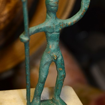 Hand-forged Brass Figurine w/ Spear and Headgear, painted green - Visual Art