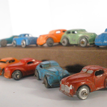 Mixed era Barclay and Japanese Mini-cars. Tinplate and lead.