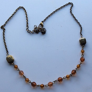 Vintage brass and celluloid necklace ?