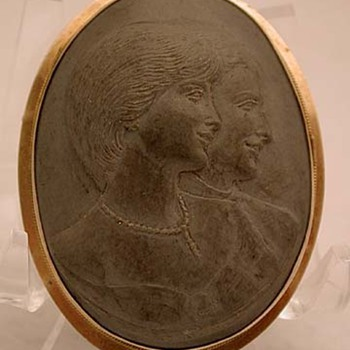 Prototype of the lava wedding cameo of Princess Diana and Prince Charles