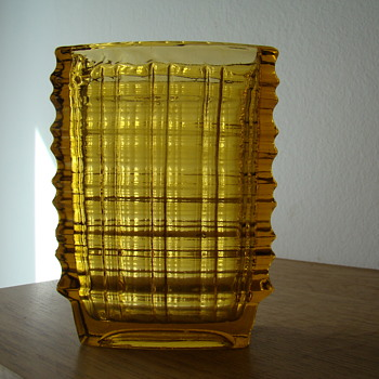 Polish pressed glass vase 1960s