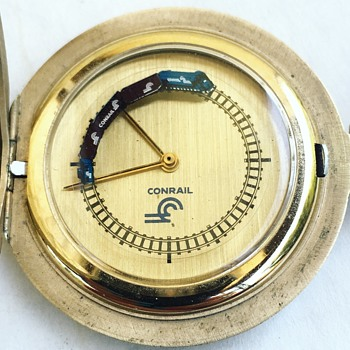 Vintage CONRAIL Pocket Watch w/ Moving Train