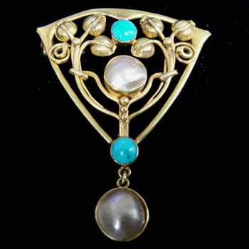 Archibald Knox design for Liberty & Co - Gold, turquoise & pearl shell brooch