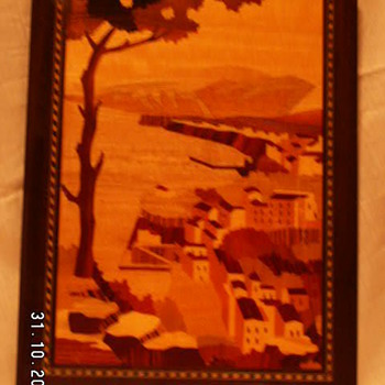 Vintage A. Cuomo Co. Handcrafted Inlaid Wood Scenic Picture ~Piazza Tasso~ Sorrento, Italy