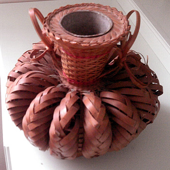 Old Wicker  Metal  drinking Vessel?