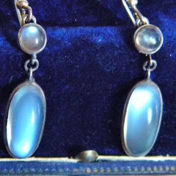 Antique Ceylon Moonstone Pendant Earring 835 Silver Germany 1.75&quot; - Fine Jewelry