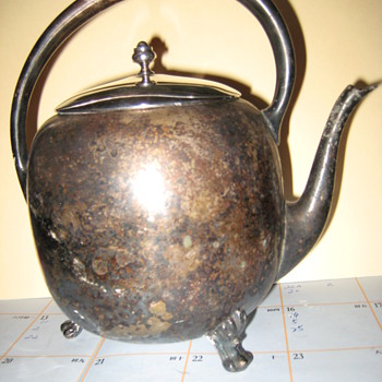 heavy old unidentifiable silver tea pot - Silver