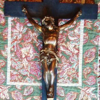 Old Catholic Cross bronze Jesus and wood Cross