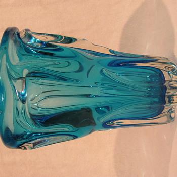 Chunky blue vase - Art Glass