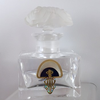 Art Deco Crystal Frosted MOP Onyx Rhinestone Perfume Bottle  - Art Glass