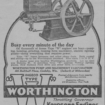 1919 Worthington Farm Engine Advertisement - Advertising
