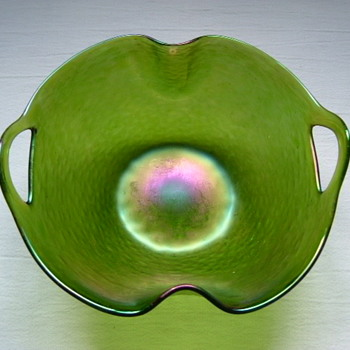 Art Nouveau Kralik Bowl with 'Punched' Handles