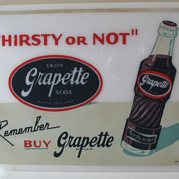 GRAPETTE SIGN, PLASTIC HANG UP, COLORFUL - Advertising