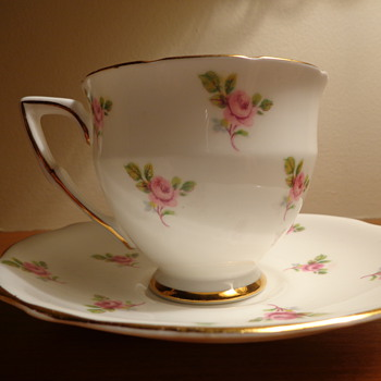 Gladstone Bone China Cup and Saucer with Pink Roses - China and Dinnerware