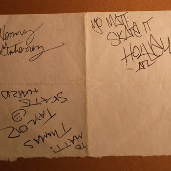 Skateboarder Autographs: Thomas Taylor, Henry Gutierrez, and Andy Howell (c. 1990)