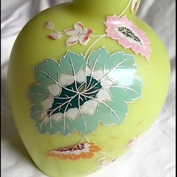 HARRACH SATIN GLASS ENAMELED VASE  - Art Glass